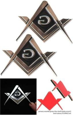 "Creatrill 2 Pack 2.75"" Chrome Plated Masonic Car Emblem Maso"