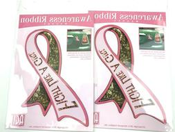 2X Pink Breast Cancer Awareness Ribbon Car Sticker Decal Hea