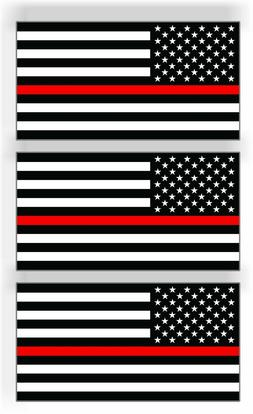 3 Thin Red Line American Flag Car MAGNET Magnetic Bumper Sti