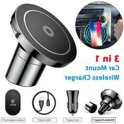 360°Car Mount Qi Wireless Fast Charger Magnetic Holder For