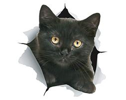 Winston & Bear 3D Cat Stickers | 2 Pack | Black Kitten Decal