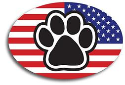 American Flag Oval with Paw Print Car Magnet 4x6 Heavy Duty
