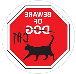 Beware of Cat Funny Sign - Inside Window Vinyl Static Cling