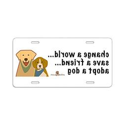 CafePress - Adopt A Dog - Aluminum License Plate, Front Lice