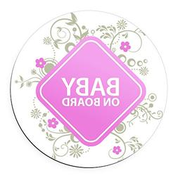 CafePress - Baby on Board - Girl Round Car Magnet - Round Ca