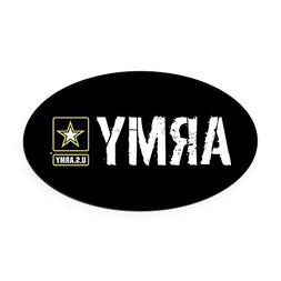 CafePress - U.S. Army with Black & Gold Star L Oval Car Magn