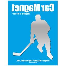 Ice Hockey Player Male Car Magnet Chrome