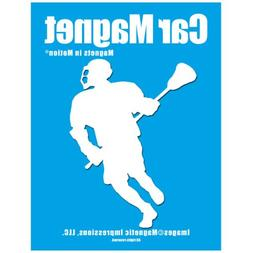 Lacrosse Male Player Car Magnet White