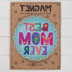 "Natural Life ""Best Mom Ever"" Floral Motif Car Magnet"