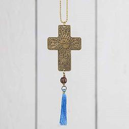 Natural Life Cross Brass Car Charm