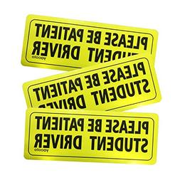 """Set of 3 """"Please Be Patient Student Driver"""" Safety Sign Vehi"""