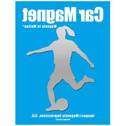 Soccer Player Female Car Magnet Chrome
