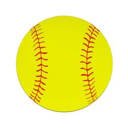 Softball Round Printed Car Magnet