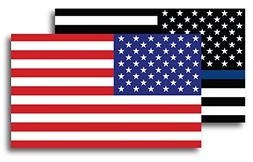 Thin Blue Line American Flag Magnet Decal and American Flag