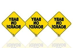 Zone Tech Baby On Board Vehicle Bumper Magnet - 3-Pack Premi