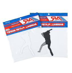 A&R Baseball Player Silhouette Car Magnet 5in x 2.5in - Blac