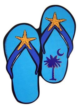 Blue Starfish Sandal Shaped Beach Car Magnet Decal, 7 1/2 In