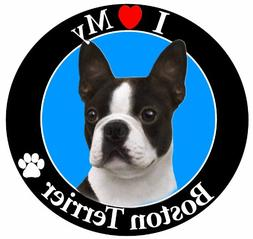 """""""I Love My Boston Terrier"""" Car Magnet With Realistic Looking"""