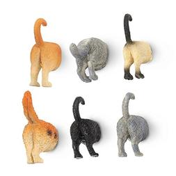 Set of 6 Cat Butt Magnets - Funny Animal Refrigerator Magnet