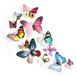 12pcs Creative 3D DIY Butterfly PVC Art Decal Home Decor Kid