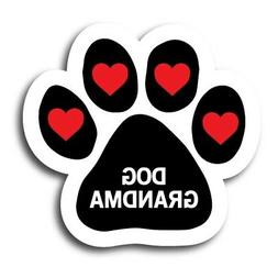 Dog Grandma Magnet 5 inch Paw Print Decal with Hearts Great