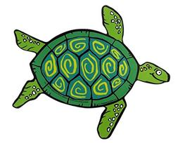 Funky Turtle Magnet Decal for Car, Refrigerator, or Office,