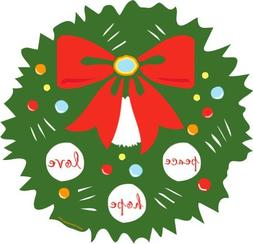 Green Holiday Wreath Car Magnet