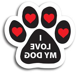 Magnet Me Up I Love My Dog Pawprint Car Magnet Paw Print Aut