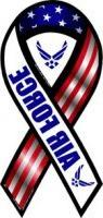 "2-in-1 Red, White, and Blue Air Force 8"" Ribbon Car Magnet"