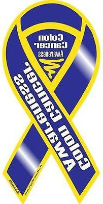 "4""-10"" COLON CANCER AWARENESS CAR RIBBON MAGNET support find"