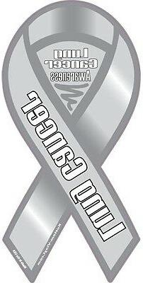 "4""-10"" LUNG CANCER AWARENESS Car Ribbon Magnet Support Find"