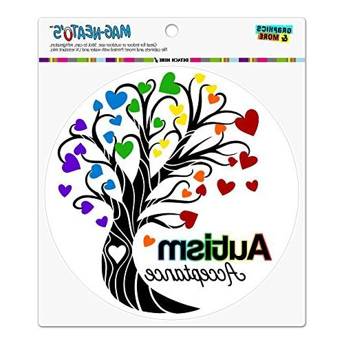 Autism Acceptance Tree of Life with Hearts Circle Bumper Window Sticker