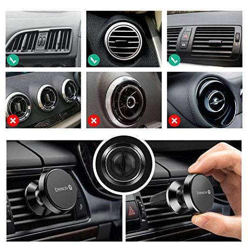 Car Phone Magnet N52 Mount Phone Car with Xs 8 Plus 6, HTC, GPS - Black