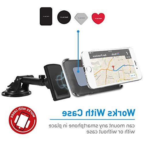 Macally Magnetic Dashboard/Windshield Arm XS XR 8 7 7+ 6s 6 Samsung Galaxy S9 S9+ S7 Edge Note
