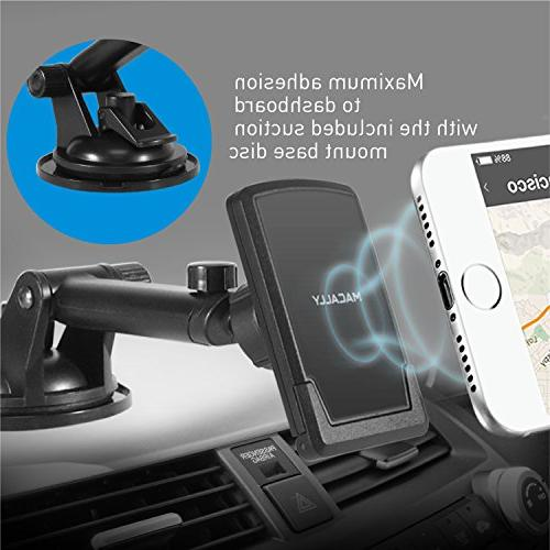 Macally Dashboard/Windshield Suction Cup Car Phone Holder Arm iPhone Xs XS XR X 8 8+ 7 7+ 6s Plus Samsung Galaxy S9 S7 Note