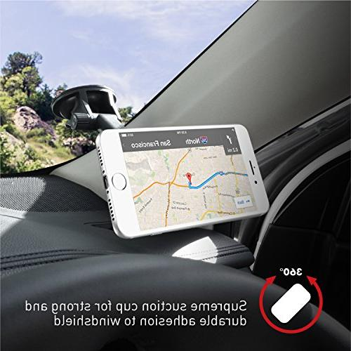 Macally Magnetic Dashboard/Windshield Cup Holder with Arm for iPhone XS Max XR X 8 8+ 6s Galaxy S9 S9+ S8 S7 Edge Note