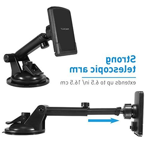 Macally Magnetic Dashboard/Windshield Cup Holder with Arm for iPhone Xs XS Max 8 6s Plus Galaxy S9 S9+ S7 Note 5
