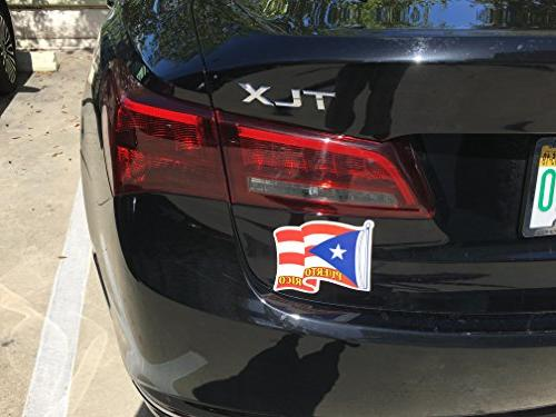 Magnetic Wavy Puerto Rico Flag for Car, Home, Hasta Fin