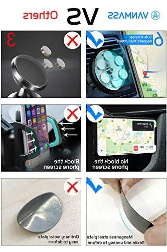 VANMASS Phone Car Mount, Hands-Free Phone Holder for Car and Windshield, Rotation with 6 Strong and Arm, Compatible with