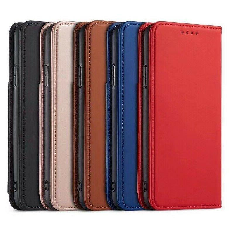 magnetic pure color skin feel leather credit