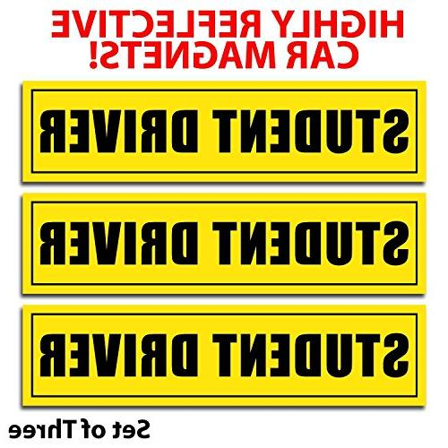 reflective student driver magnetic car signs set