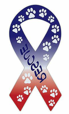 Ribbon Shaped Car Magnet: Rescue | Dog Paws, Red, White and