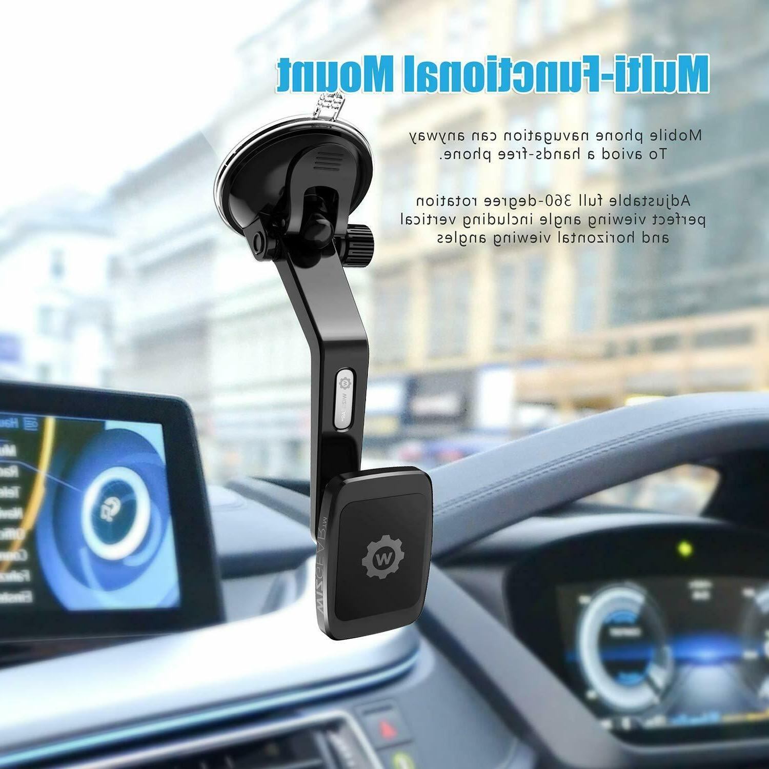 WizGear Universal Curved Magnetic Phone Holder Car Mount Mini