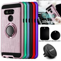 For LG G8 ThinQ Shockproof Case With Ring Holder Stand + Mag