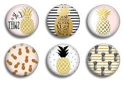 Locker Magnets For Girls - Pink and Gold Pineapples