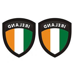 "MAGNET Ireland Flag Shield Decal SET 4""x3.3"" Badge Irish Car"