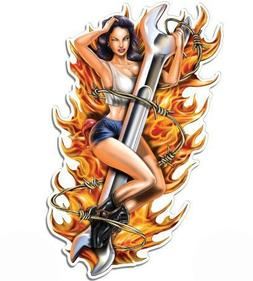 Magnet Pinup Girl on Wrench Sexy - Magnetic vinyl sticks to