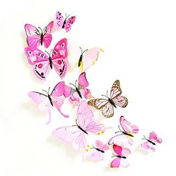 Magnet Wall Stickers,12 x 3D Butterfly Refrigerator Magnets