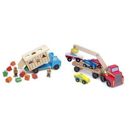 Melissa & Doug Car Loader & Shape Sorting Dump Truck Bundle