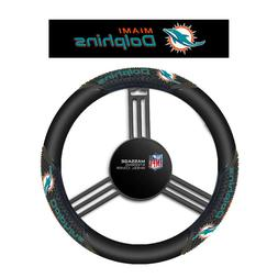 Fremont Die Miami Dolphins Massage Grip Steering Wheel Cover